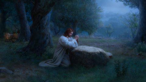 Gesù prega nel giardino di Getsemani