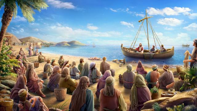 Gesù predicò in spiaggia alle persone che lo seguivano.