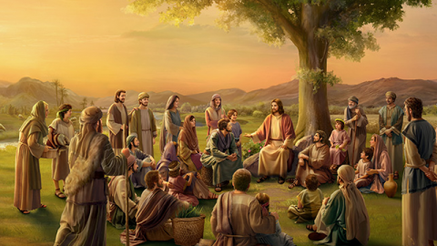Gesù sta parlando la storia della vigna alle persone che Lo seguono.