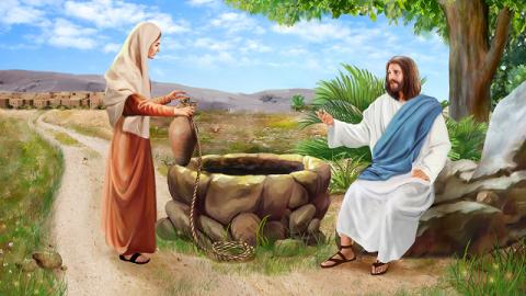 La donna samaritana parla con Gesù al pozzo