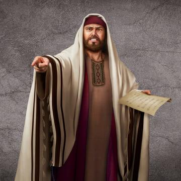un fariseo condanna il Signore Gesù con rabbia